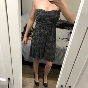Grey Strapless Mini Dress